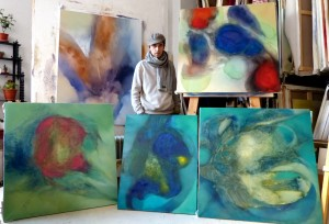 Frederic with his works c. Artfinder