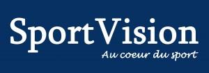 Logo SPORTVISION grande taille recolorié bleu foncé avec claim au coeur du sport - copie